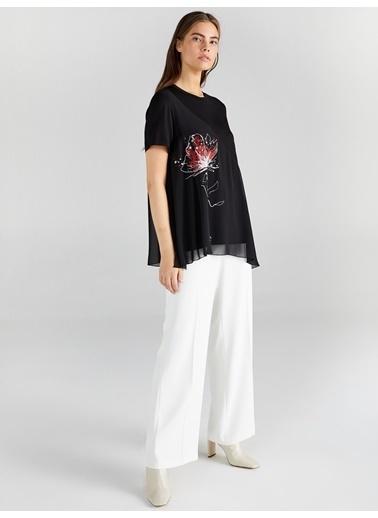 Faik Sönmez  Çiçek Baskılı Örme Kumaş Kombinli Şifon Bluz 61166 Siyah